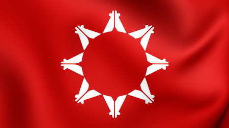 reservation: 3D Flag of Pine Ridge Indian Reservation, South Dakota, USA. Close Up. Stock Photo