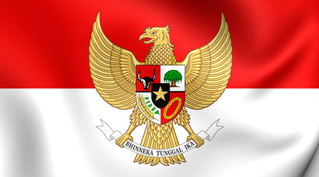 indonesia: 3D Flag of the Indonesia. Close Up.