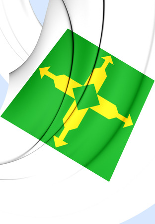 federal: 3D Flag of Federal District, Brazil. Close Up.