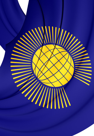 commonwealth: Commonwealth of Nations 3D Flag. Close Up.