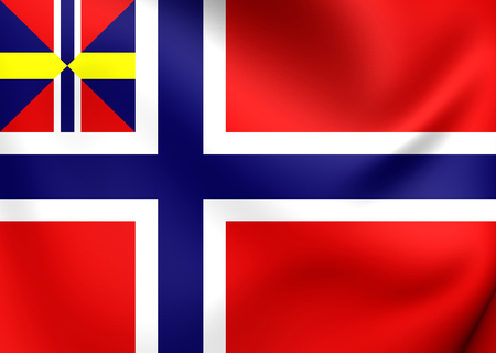 merchant: National and Merchant Flag of Norway (1844-1899). Close Up. Stock Photo