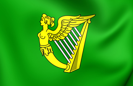 republic of ireland: Green Harp Flag of Ireland. Close Up. Stock Photo