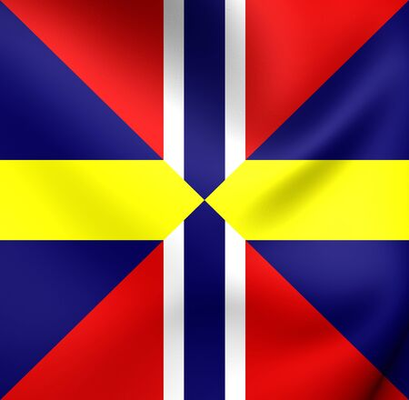 diplomatic: Union Naval Jack and Diplomatic Flag of Sweden and Norway. Close Up.
