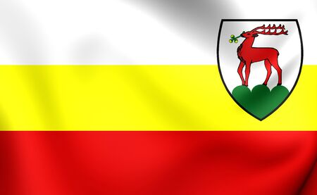 gora: 3D Flag of Jelenia Gora City, Poland. Close Up.