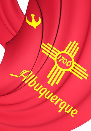 albuquerque: 3D Flag of Albuquerque City, New Mexico. Close Up.