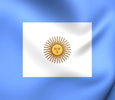 naval: 3D Naval Jack of Argentina. Close Up. Stock Photo