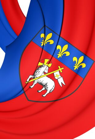 normandy: 3D Flag of Rouen City, France. Close Up.