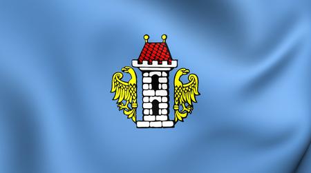oswiecim: 3D Flag of Oswiecim City, Poland. Close Up.