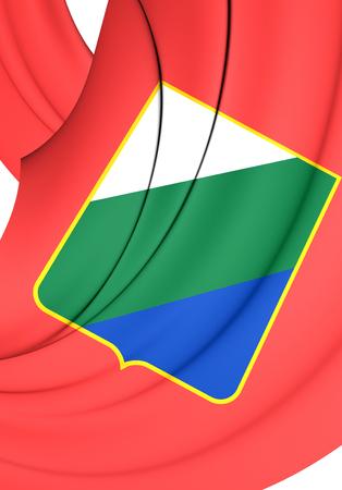 region: 3D Flag of Abruzzo Region, Italy. Close Up. Stock Photo