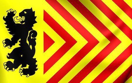 municipality: 3D Flag of Langedijk Municipality, Netherlands. Close Up. Stock Photo