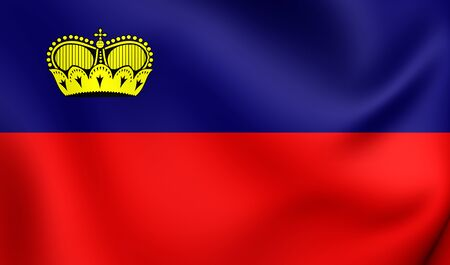 liechtenstein: 3D Flag of the Liechtenstein. Close Up. Stock Photo