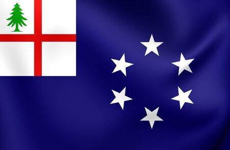 new england: 3D Flag of New England (1988), USA. Close Up. Stock Photo