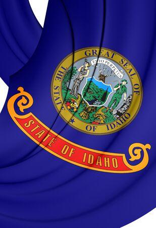 idaho: 3D Flag of Idaho, USA. Close Up.