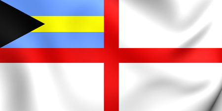 ensign: 3D Naval Ensign of the Bahamas. Close Up. Stock Photo