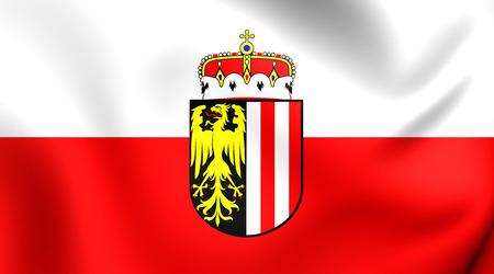 3D Flag of Upper Austria. Close Up.