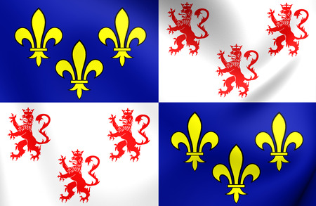 region: 3D Flag of Picardy Region, France. Close Up.