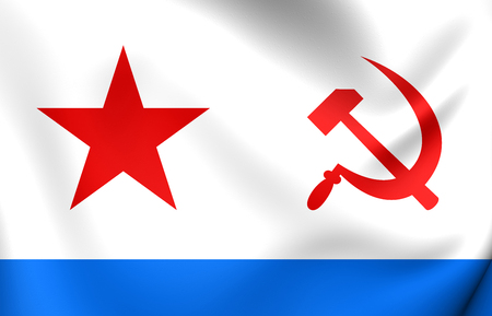 3D Naval Ensign of the Soviet Union (1950-1992). Close Up.