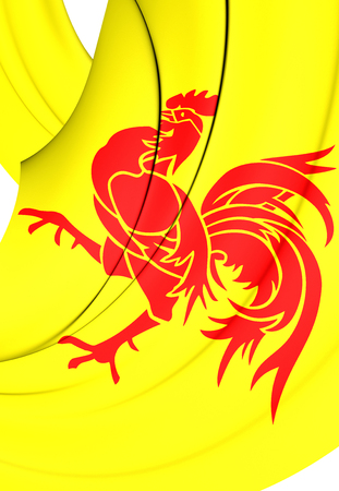 wallonie: 3D Flag of Wallonia Region, Belgium. Close Up.