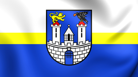 czestochowa: 3D Flag of Czestochowa City, Poland. Close Up. Stock Photo