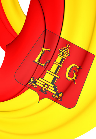 liege: 3D Flag of Liege City, Belgium. Close Up.