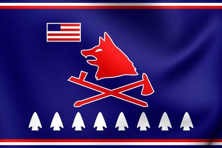nation: Pawnee Nation of Oklahoma Flag. Close Up.