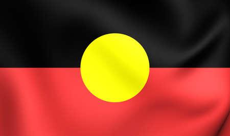 waving flag: Australian Aboriginal Flag. Close Up.