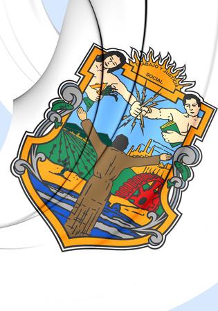 baja california: 3D Flag of Baja California State, Mexico. Close Up. Stock Photo