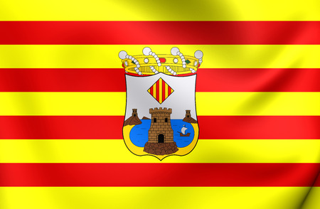 3D Flag of Benidorm City, Spain. Close Up.
