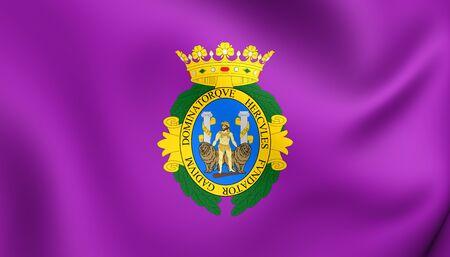 spainish: 3D Flag of Cadiz City, Spain. Close Up.