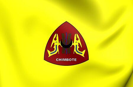 ancash: 3D Flag of Chimbote City, Peru. Close Up.