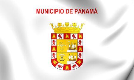 bandera panama: Indicador 3D de la ciudad de Panam�. Acercamiento. Foto de archivo