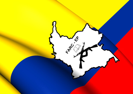 columbian: 3D Flag of the FARC-EP. Close Up.