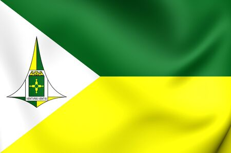 governor: 3D Flag of Federal District Governor, Brazil. Close Up.