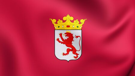 leon: 3D Flag of Leon Province, Spain. Close Up.