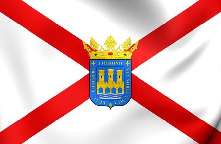 rioja: 3D Flag of Logrono City (La Rioja), Spain. Close Up. Stock Photo