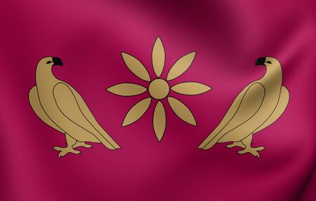dynasty: 3D Flag of Artaxiad Dynasty. Close Up.