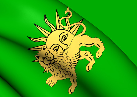 dynasty: 3D Flag of Safavid Dynasty. Close Up.