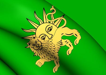 safavid: 3D Flag of Safavid Dynasty. Close Up.