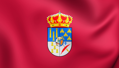 3D Flag of Salamanca Province, Spain. Close Up.