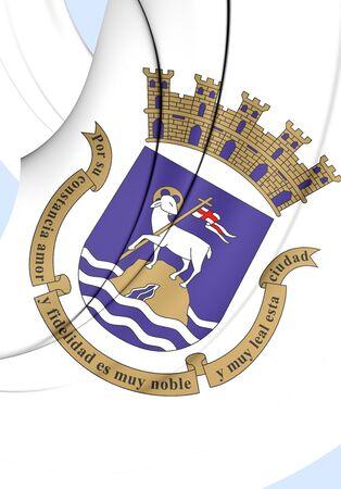bandera de puerto rico: Bandera 3D de San Juan, Puerto Rico. Acercamiento.