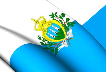 san marino: 3D Flag of the San Marino. Close Up.