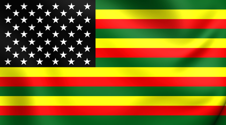 african america: 3D Flag of the African America. Close Up.