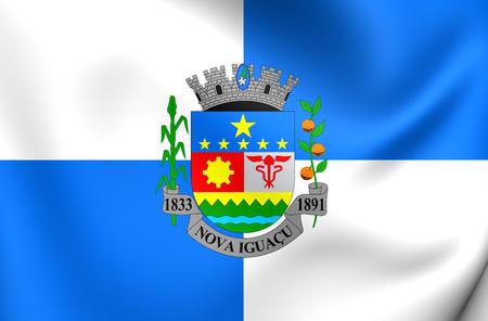 nova: 3D Flag of Nova Iguacu City, Brazil. Close Up.