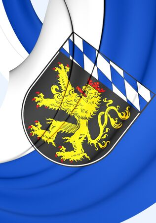 upper arm: 3D Flag of Upper Bavaria Region, Germany. Close Up. Stock Photo