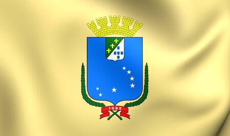 luis: 3D Flag of Sao Luis City, Brazil. Close Up.