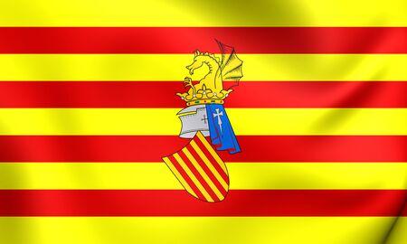 valencia: Preautonomous flag of the Land of Valencia. Close Up. Stock Photo
