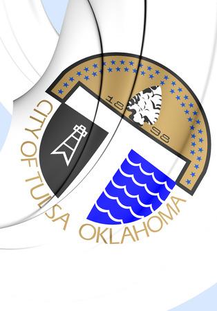 3D Flag of Tulsa City (Oklahoma), USA. Close Up. Stock Photo