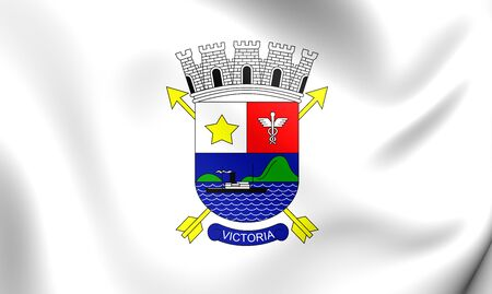 vitoria: 3D Flag of Vitoria City (Espirito Santo), Brazil. Close Up. Stock Photo