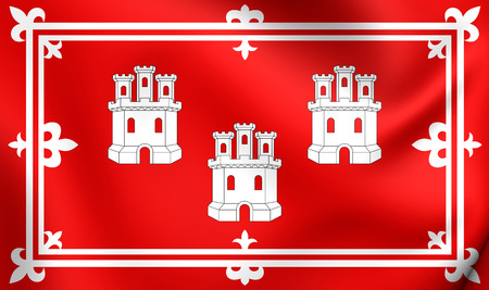 aberdeen: 3D Flag of Aberdeen City, Scotland. Close Up.
