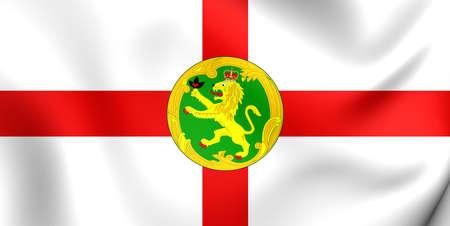 bailiwick: 3D Flag of the Alderney. Close Up. Stock Photo